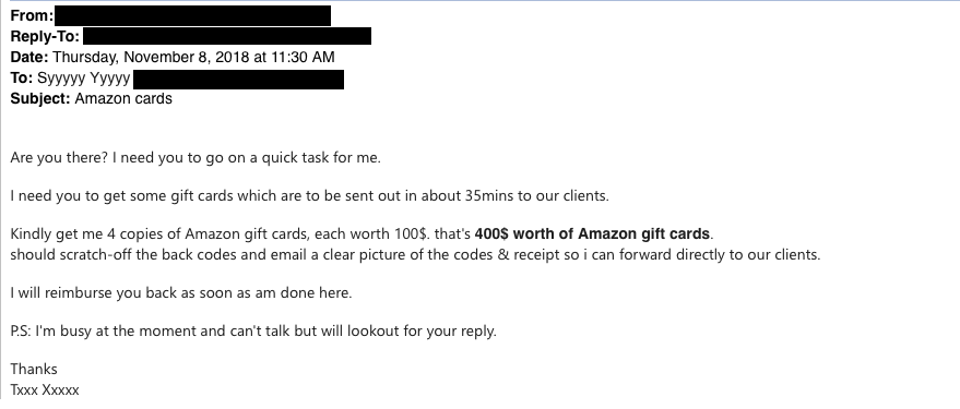 This is an image of a phishing attempt from a spoofed business executive account asking for amazon gift cards.