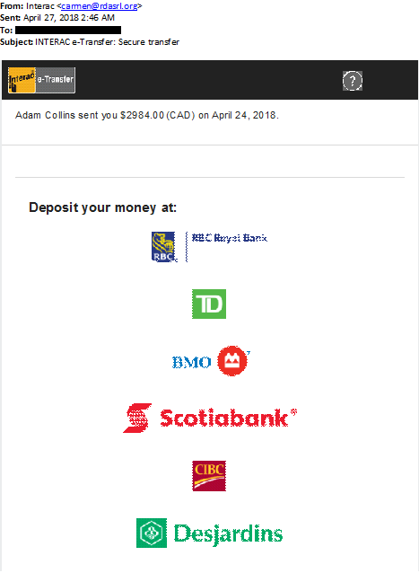 This is an image of a phishing attempt where the sender is prompting the recipient to deposit money sent to them in a malicious link that will record their banking information.