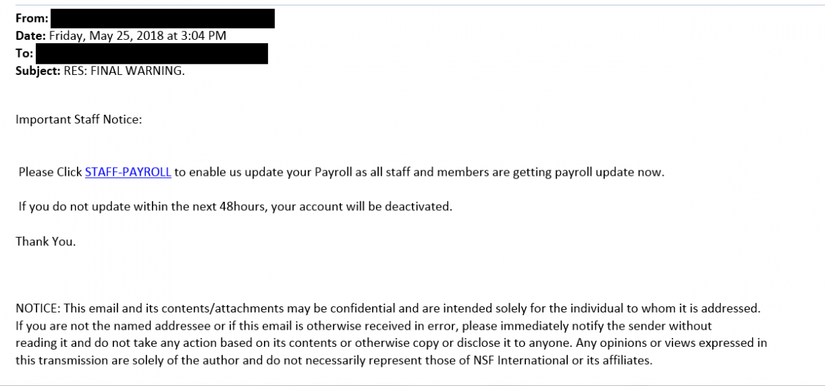 This is an image of a phishing attempt carried through a proxy email that attempts to trick the user into filling out their payroll information through a malicious link.