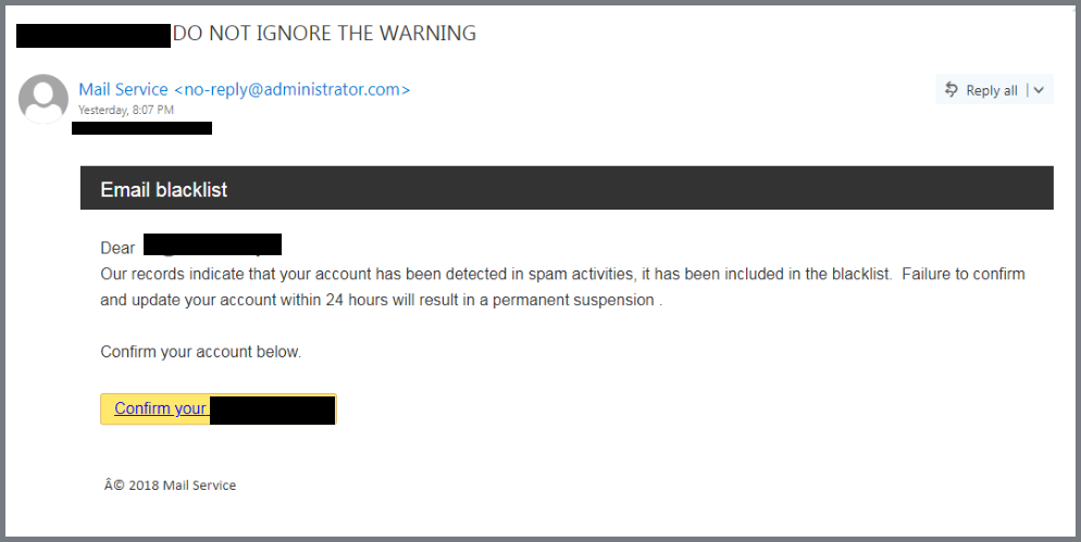 This is an image of a phishing attempt from an imposter web admin, asking the recipient to click a ,malicious link to confirm account credentials.