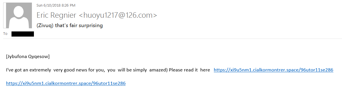 This is an image of a phishing attempt that prompts the user to click a malicious link.