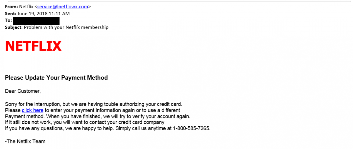This is an image of a phishing attempt where the sender is posing as the Netflix Team, and is asking you to click a malicious link, in order to enter your credit card information.
