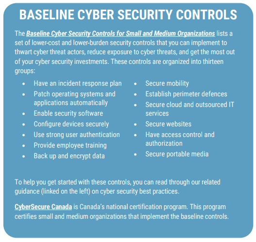 Baseline Security Controls. Read linked pdf
