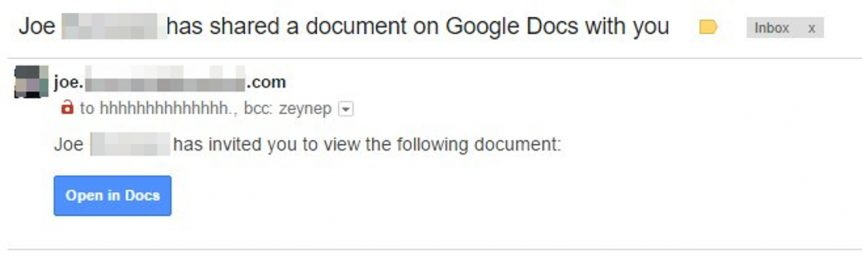 Phishing attempt: Joe has shared a document on Google Docs with you