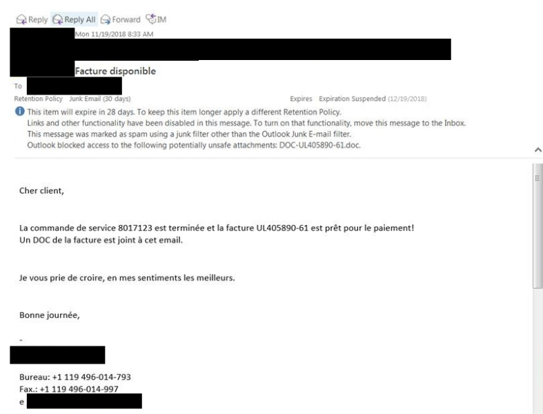 This is an Image of a phishing email written in French..