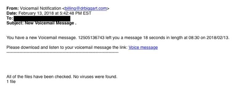This is an image of a phishing attempt that prompts the recepient to click a link to check a voice message