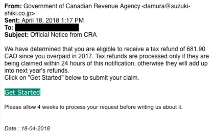 This is an image of a phishing attempt from CRA imposters who attempt to bait the recipient into clicking a malicious link and providing personal information.