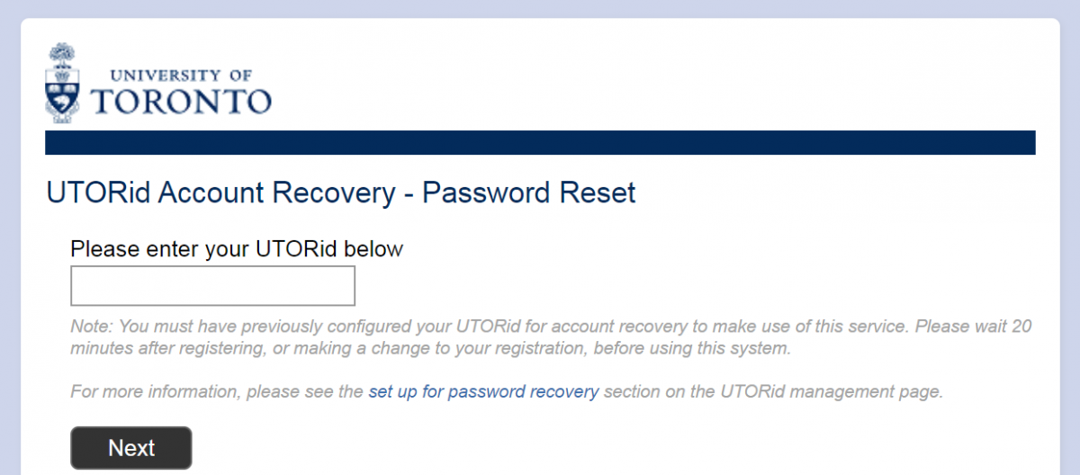 This is an image of the self-service password recovery website for U of T