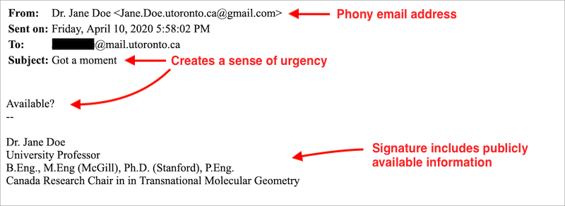 Click here to read second example on a reported email phishing attempt