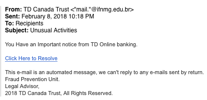 This is an image of a phishing attempt that prompts the recipient to open a link and check an important notice from TD Canada Trust