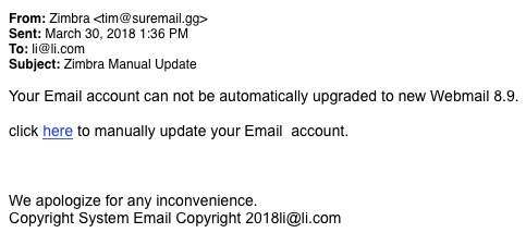 This is an image of a phishing attempt prompting the recipient to click a malicious link, in order to supposedly update to a new e-mail service.