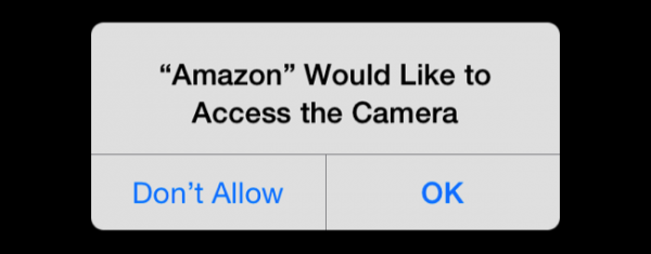 This is an image of Amazon requesting access permission to access the camera feature on a mobile phone