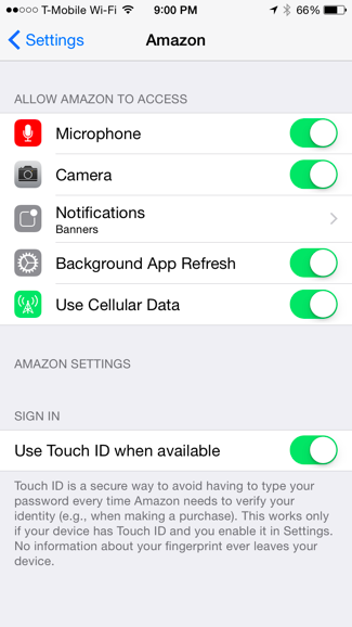 This is a screenshot of an iPhone settings where access to mobile app permissions is located