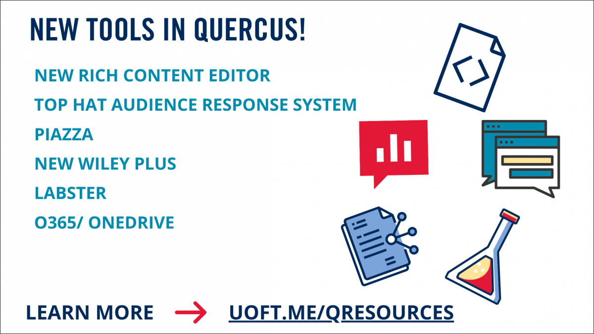 New tools in Quercus: new rich content editor, top hat audience response system, piazza, new wiley plus, labster, 0365/OneDrive